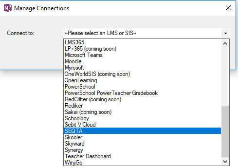 Connect existing class notebook to SEQTA and Teams issues
