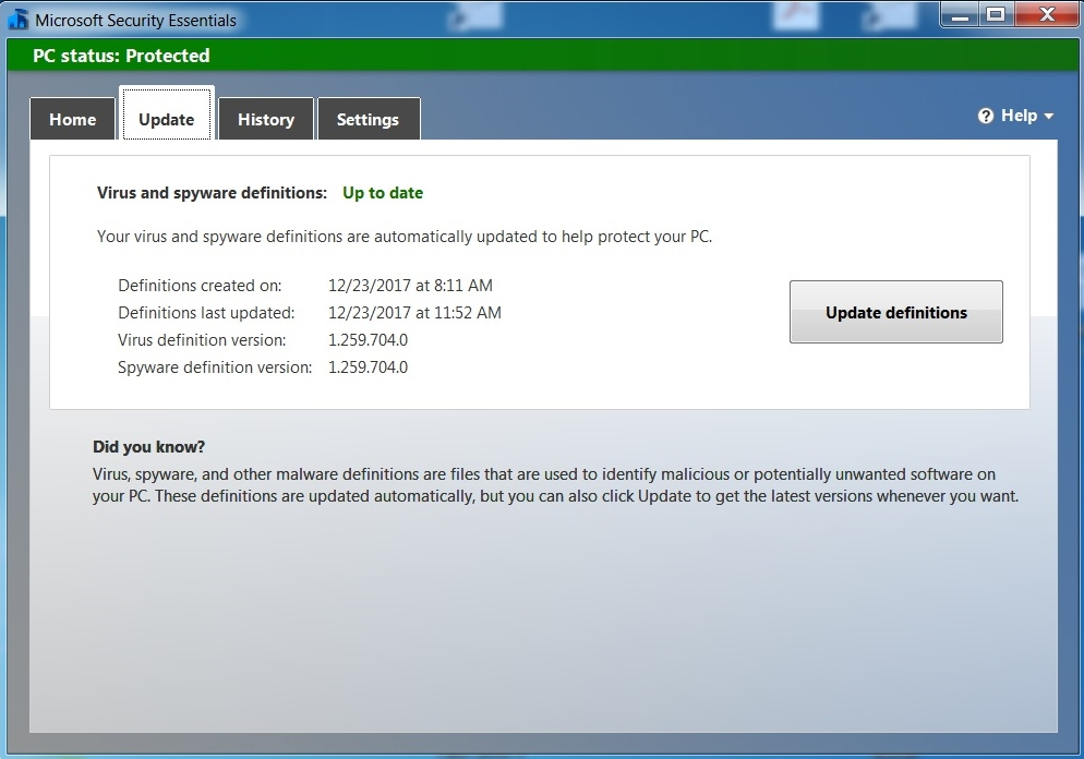microsoft security essentials is not updating