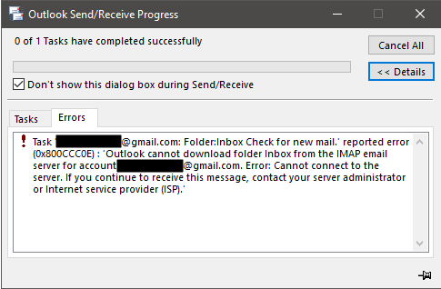 Outlook 2016 Will Not Send or Receive Gmail With Firewall Turned On