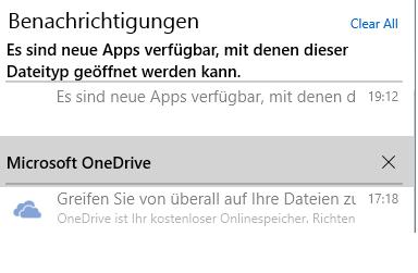 Betriebssystem-Benachrichtigungen können nicht geöffnet werden