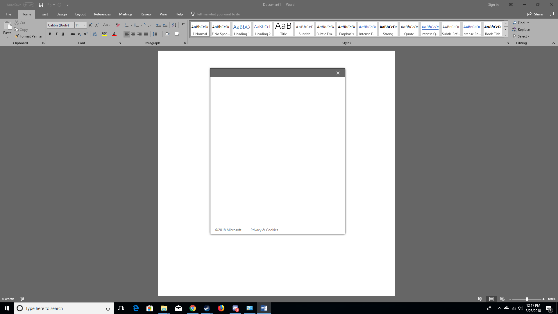 Microsoft Office: Blank White Screen When I Try To Sign In