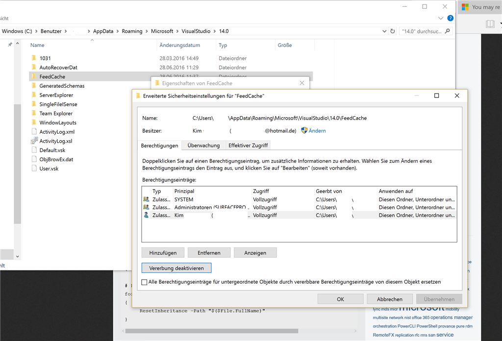 permission issues in vs 2015 access denied on file in feedcache
