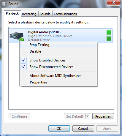 About Digital Audio/ Sound Device Issue (Windows 7