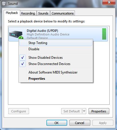 About Digital Audio/ Sound Device Issue (Windows 7) - Microsoft