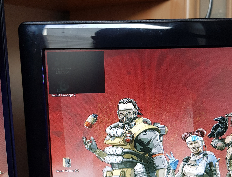 schwarzes durchsichtiges Rechteck auf Monitoren links oben Windows 10