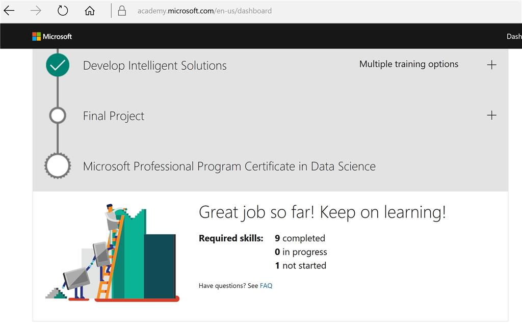 Microsoft Professional Program Dashboard Not Showing That Is In