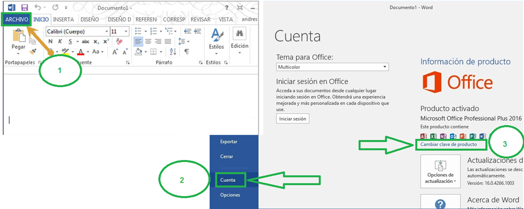 claves para office 2016