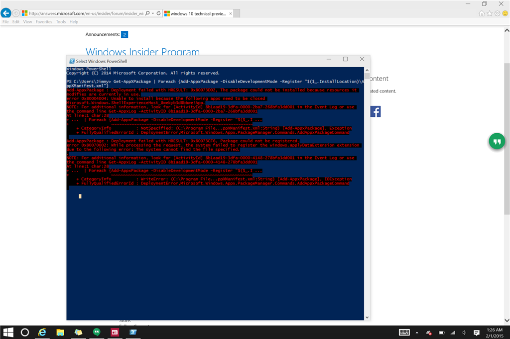 Windows 10 pro technical preview build 9926 apps not working image ccuart Gallery