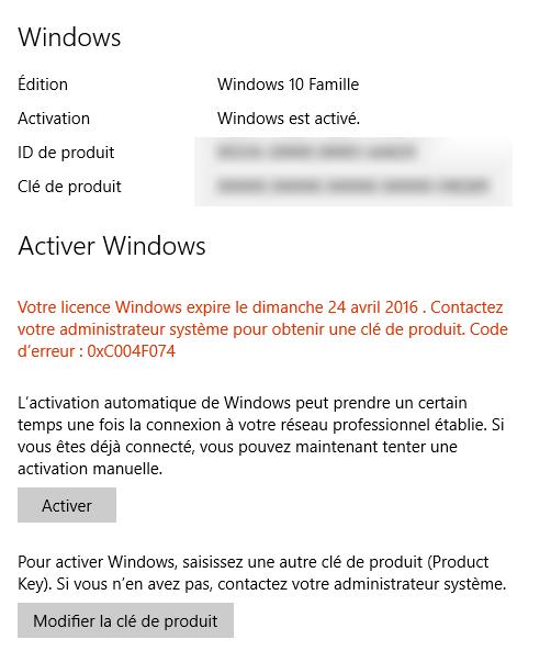 Ma licence va expirer (erreur 0xC004F074) - Microsoft Community