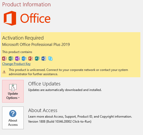 MAK Conflicts in Office Standard 2019 and Access 2019 (Office