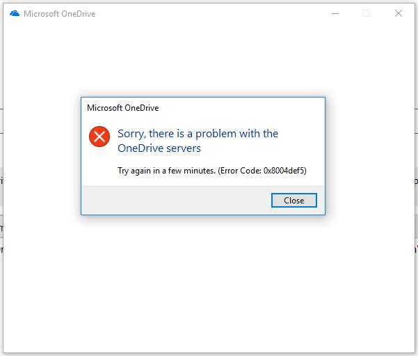 OneDrive Error Code: 0x8004def5 - Microsoft Community