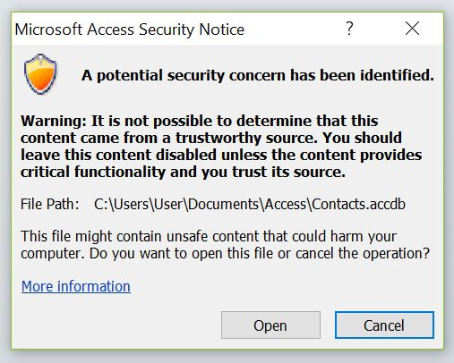 ms access 2016 macro set warnings