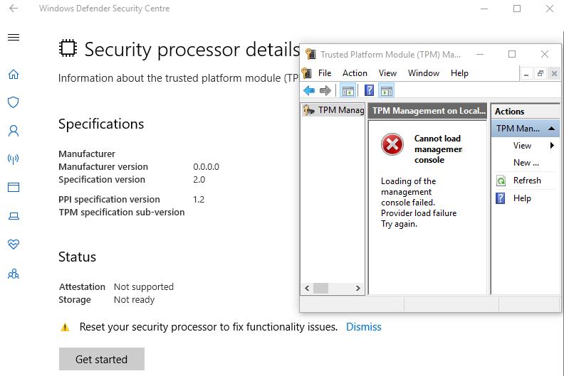 Windows Defender \u003e Security Processor \u003e Clear TPM multiple