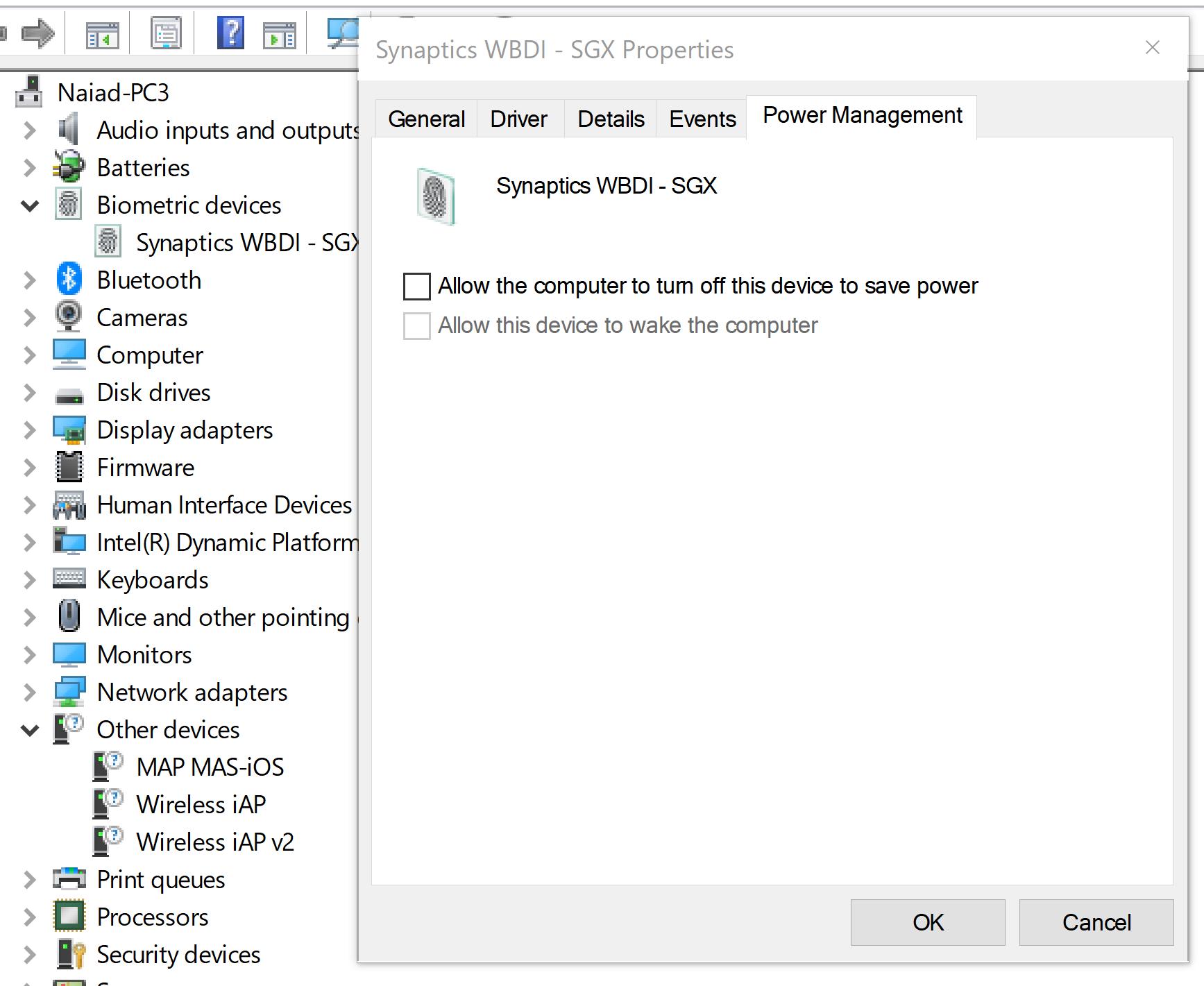 Synaptics WBDI error - Microsoft Community