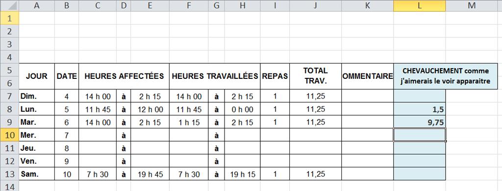 Calcul De Chevauchement Feuille De Temps Microsoft Community