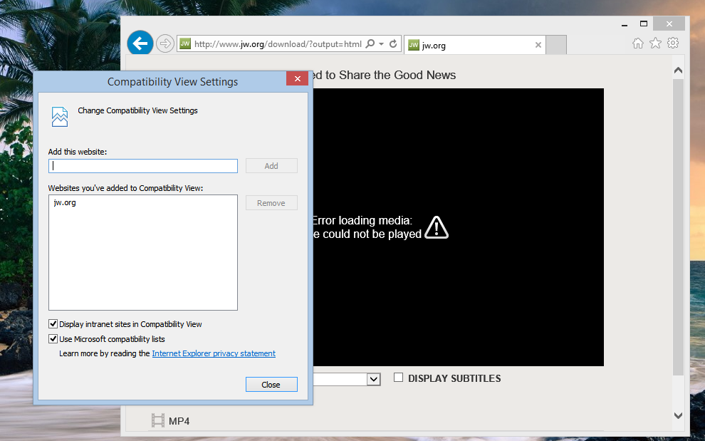 media player won't work in IE11 RTM, works in other browsers