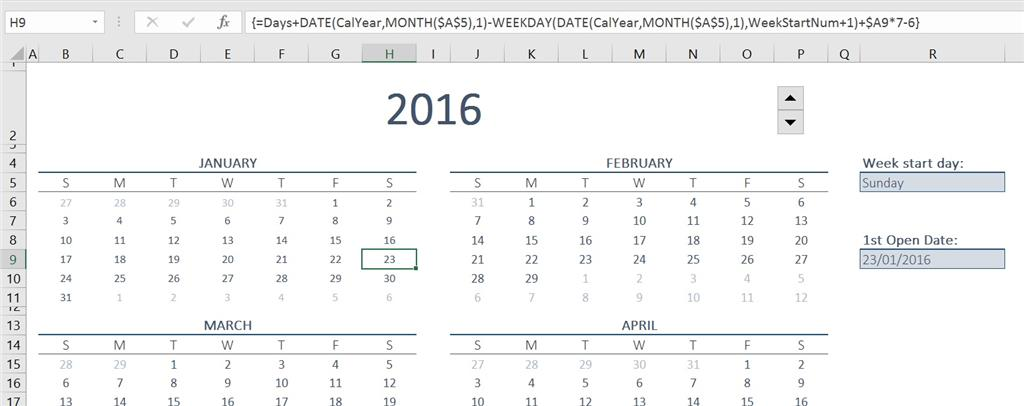 image regarding Perpetual Calendar Template called Applying Excel Calendar Template, formulation toward spotlight dates