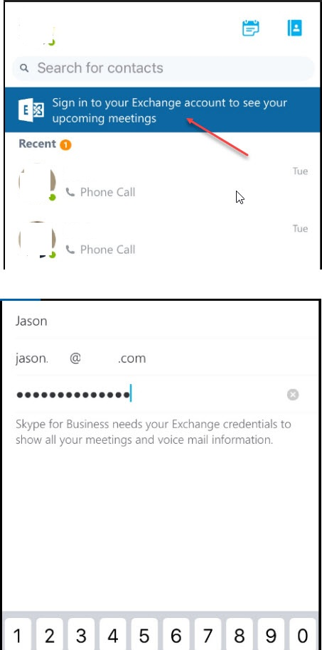 skype for business login iphone