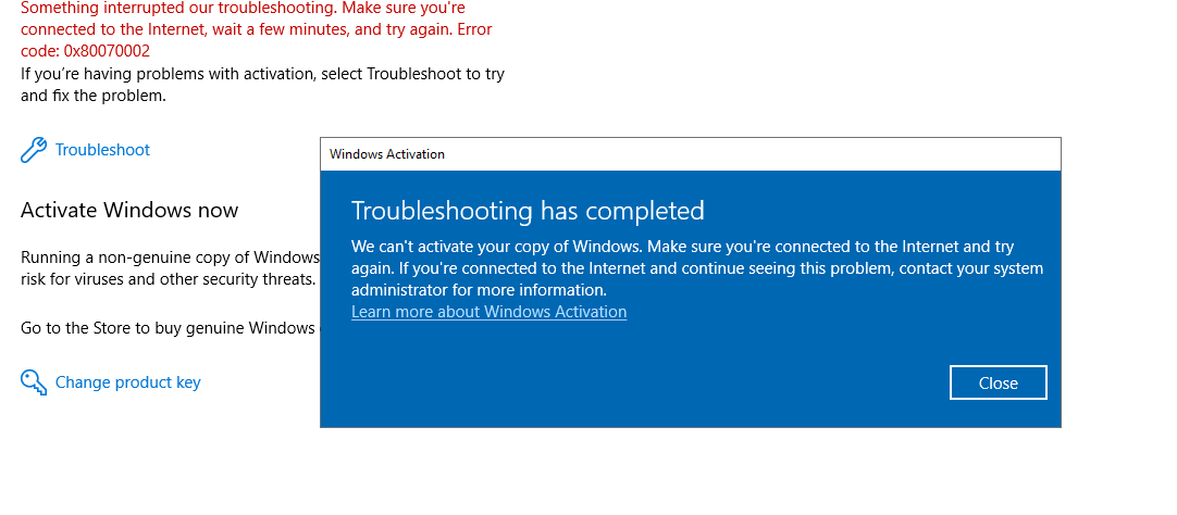 Windows 10 Pro Can't Activate