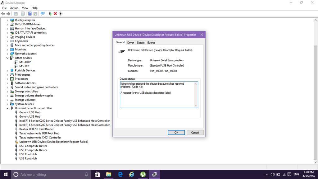 Getting Error device descriptor request failed Code 43  - Microsoft