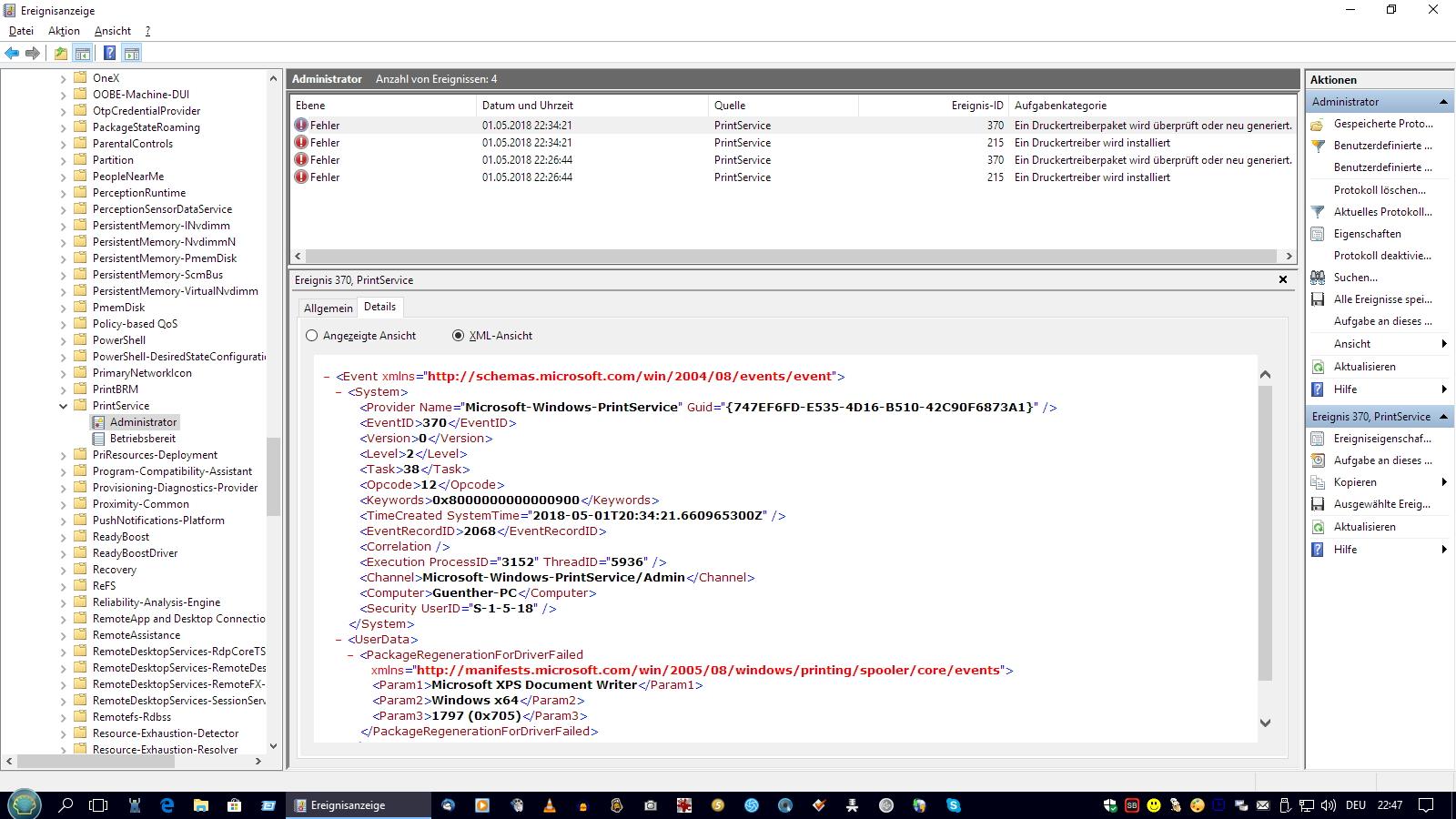 Fehlermeldungen in der Ereignisanzeige Windows 10 Printservice