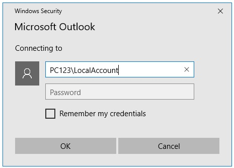 Outlook 2016 prompts with