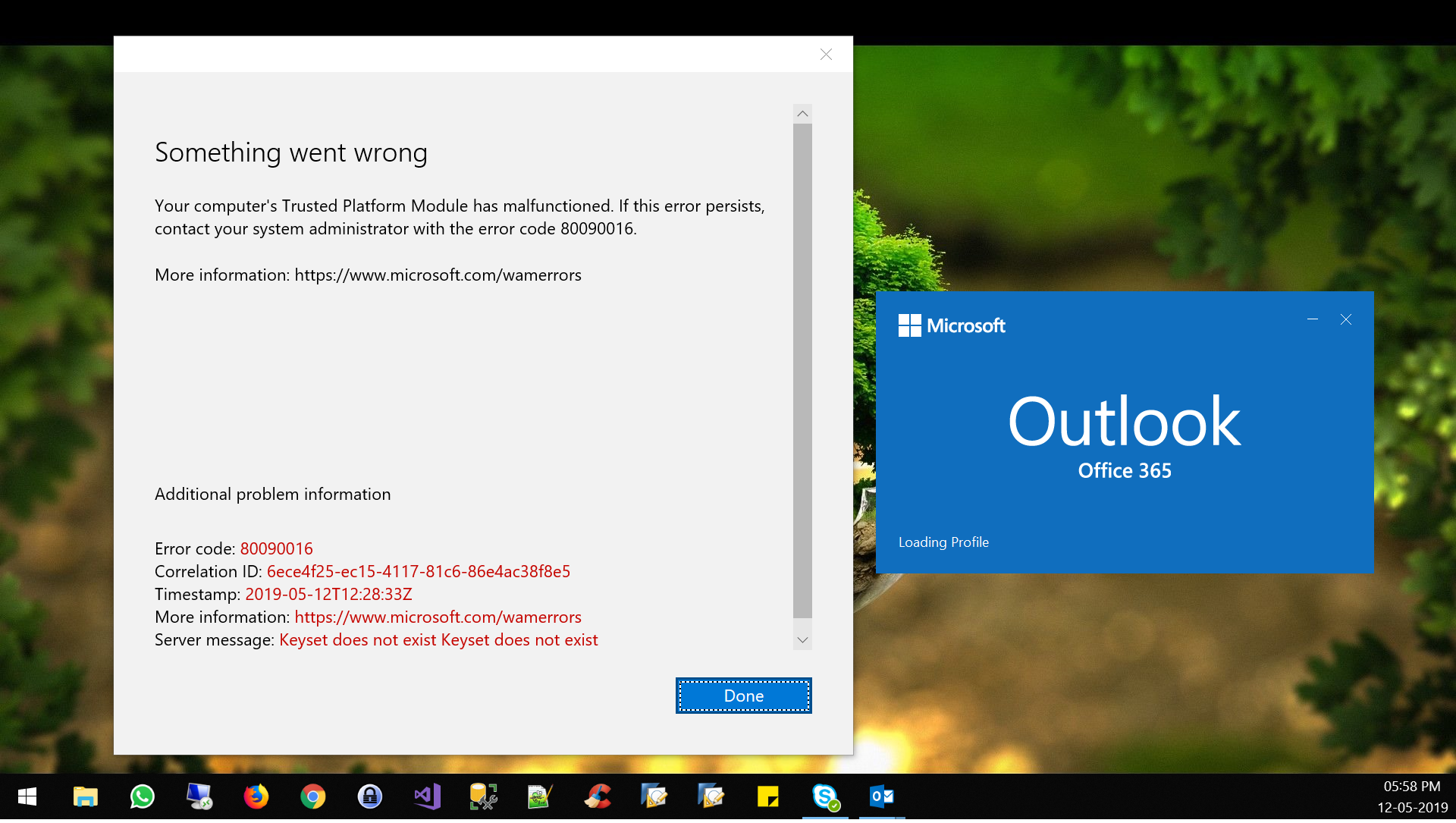 Keyset does not exist  Outlook throw an error if I try to login with