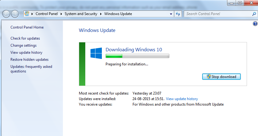 microsoft software center preparing download