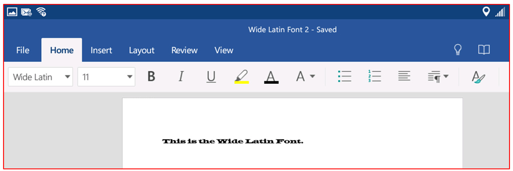 How to add a font to Microsoft Word on an Android Tablet