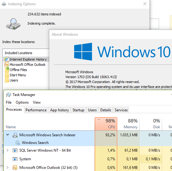 Windows 10 indexing runs at full throttle after index