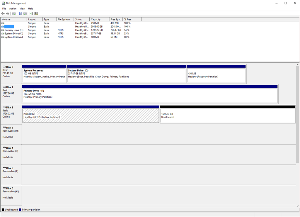 drive letter missing, disk migrated to GPT and half of it