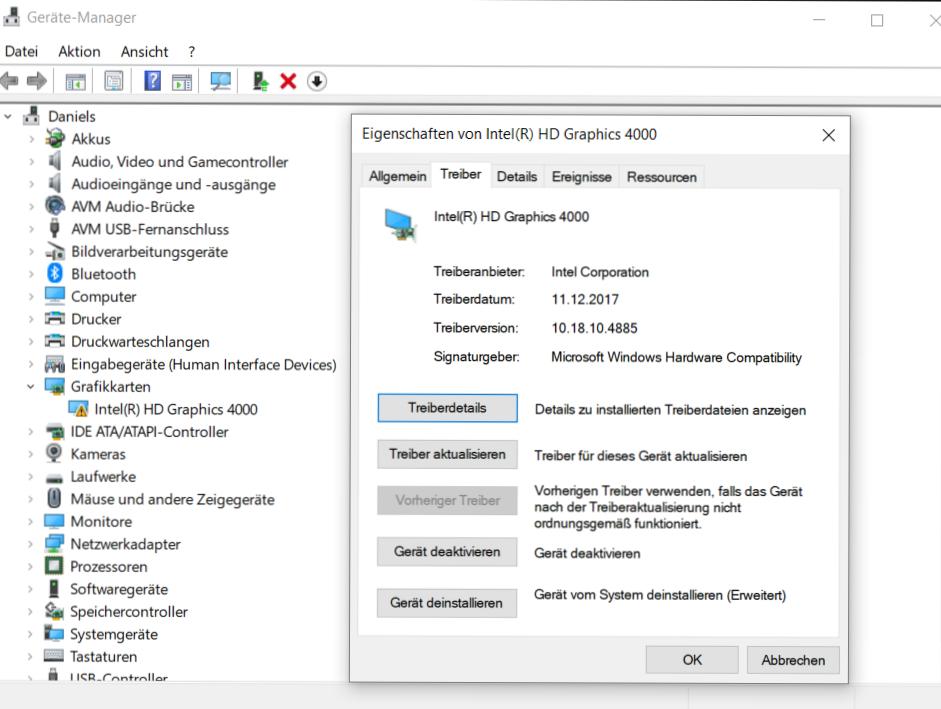 Intel HD Graphics 4000 Treiber funktioniert nicht mehr