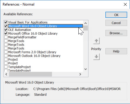 Microsoft Word 2019 object Library - Where? - Microsoft Community