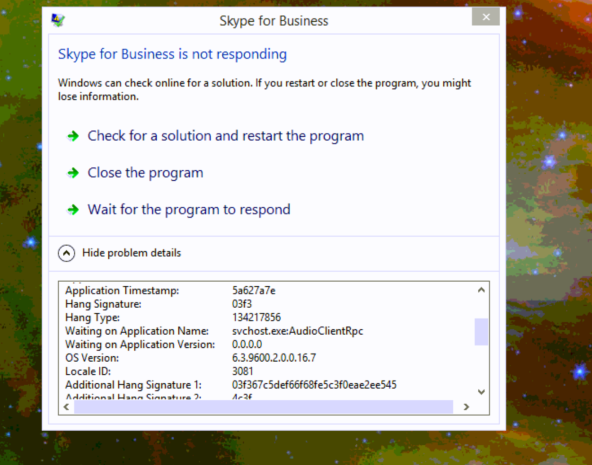 Skype for Business 2016 (through RDP) Hanging on startup - Microsoft