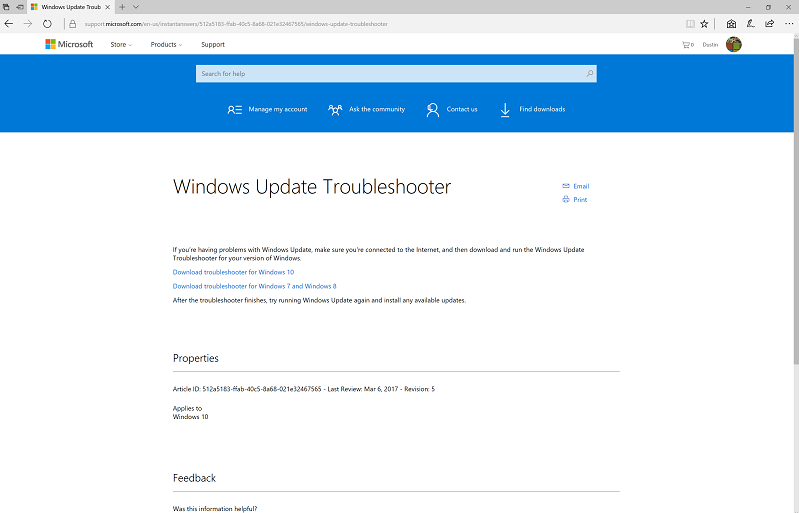 Windows Update Troubleshooter Tool - Microsoft Community
