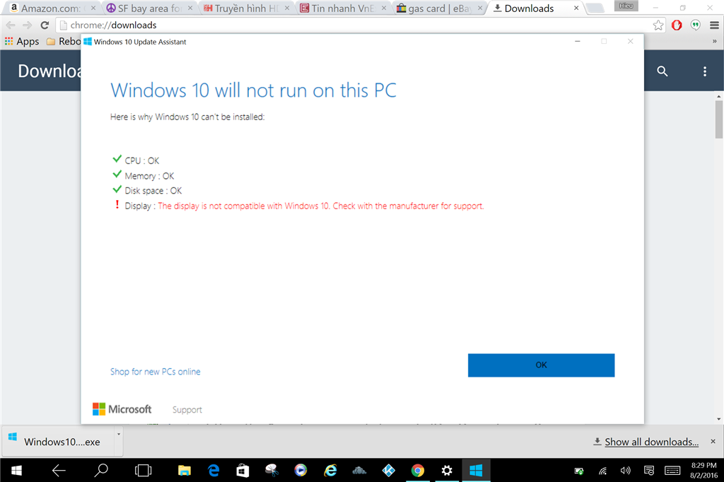 This display is not compatible with Windows 10\