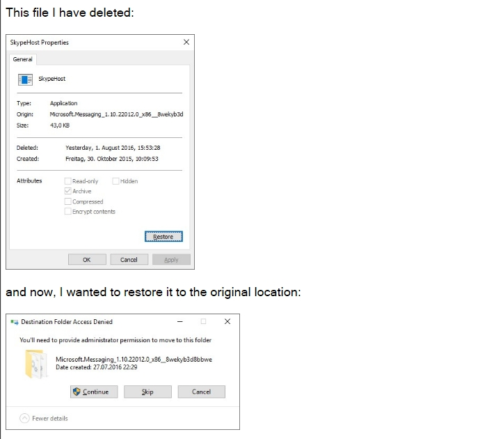 Trouble with permissions for files and folders in Windows 10
