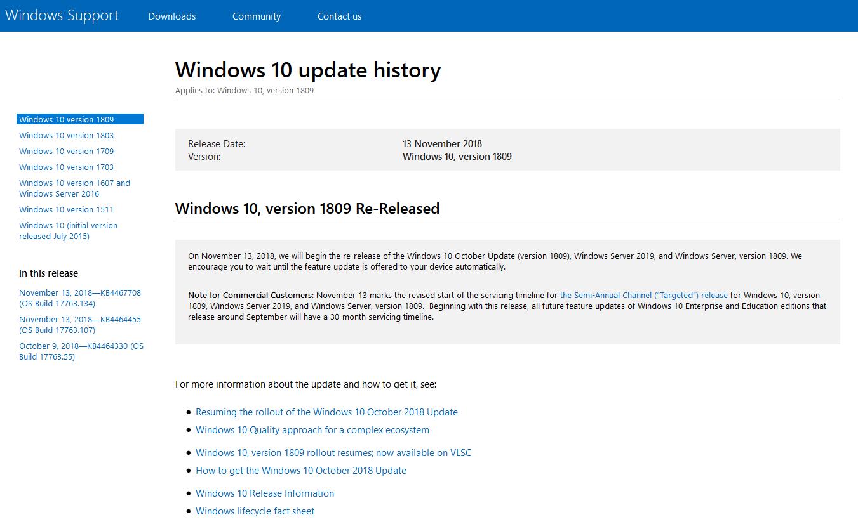 latest build of windows 10 1809