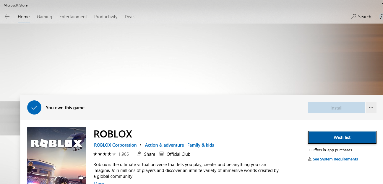 Roblox Not Downloading From Microsoft Store Microsoft Community