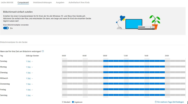 Computerzeiten und Aufenthaltsort bei einem Lumia 650 mit Windows 10 Mobile in...