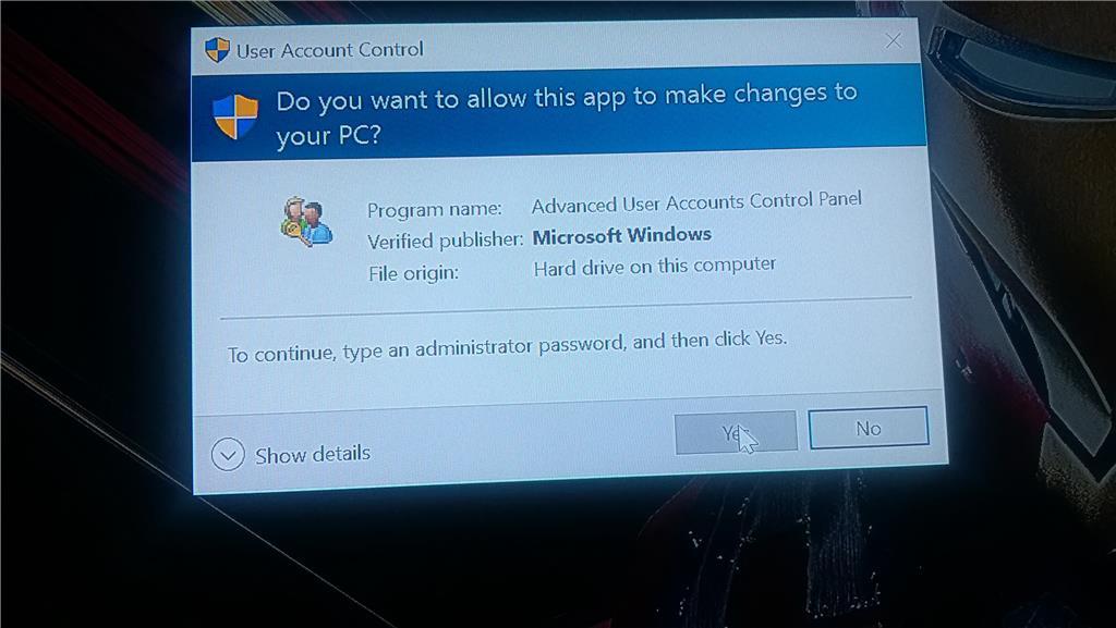 netplwiz windows 10 error