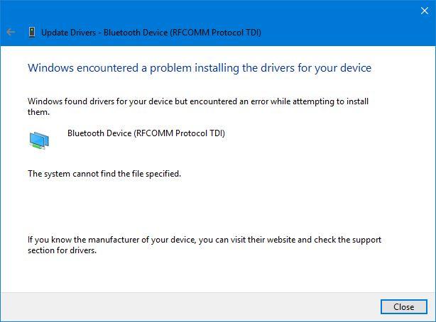 Bluetooth Device (RFCOMM Protocol TDI) Driver Issues
