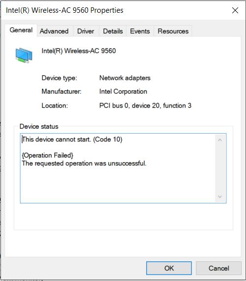 Windows 10 automatic update caused intel ac 9560 code 10