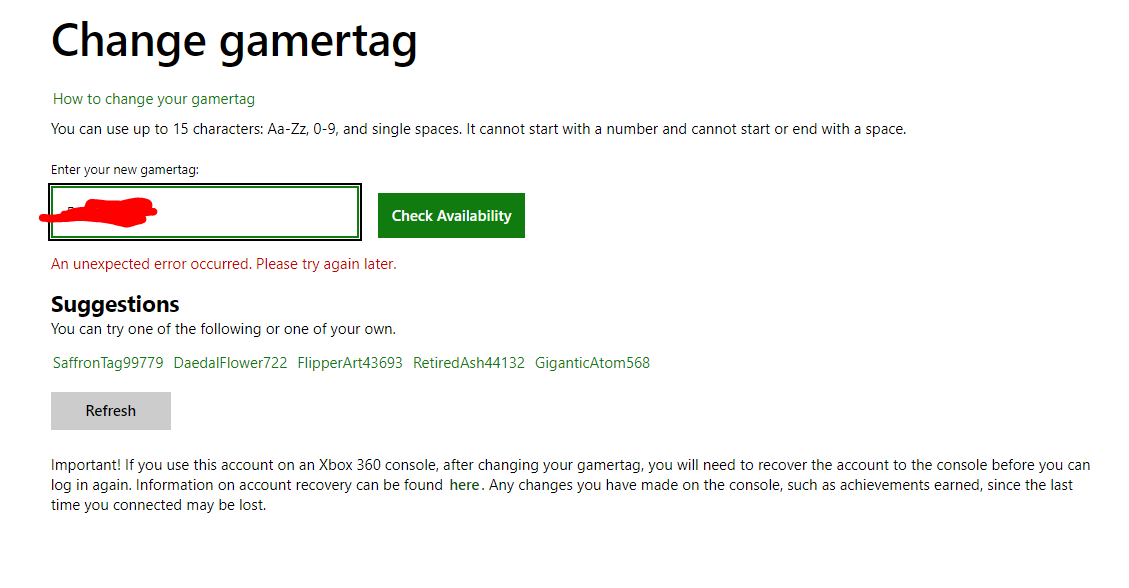 An unexpected error occurred. Please try again later - error when trying to change gamer tag [IMG]