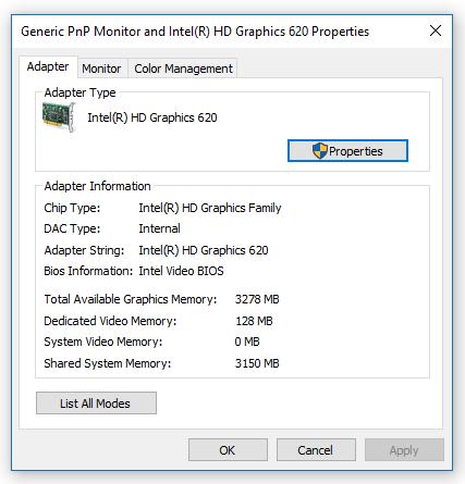 intel hd graphics 620 total graphics memory decreased - Microsoft