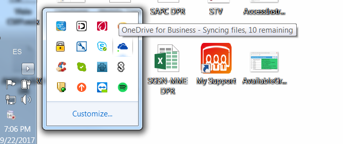 OneDrive for Business says it's syncing, but it isn't