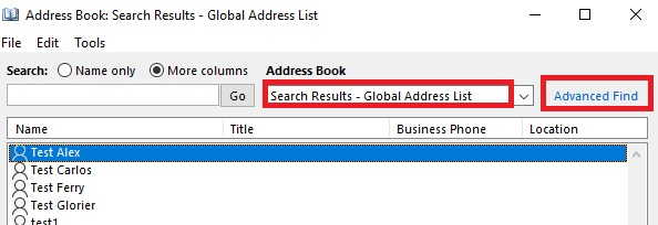 Advanced Find option of the Outlook address book not alphabetical