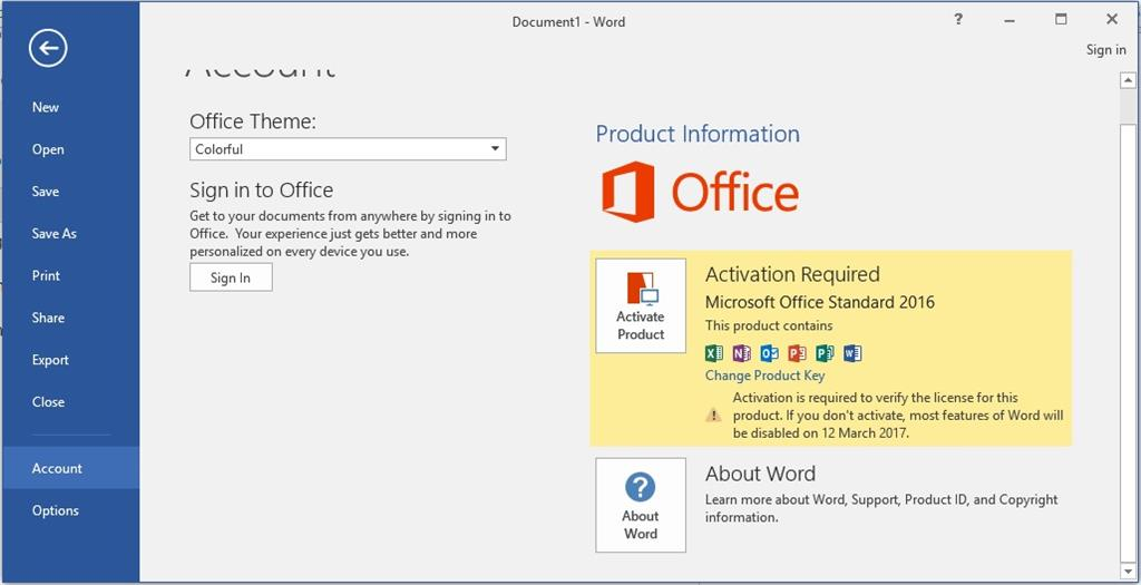 activating microsoft office 2016