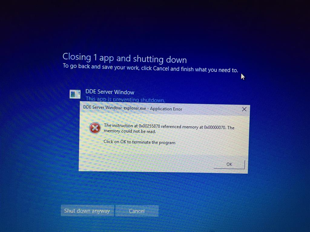 "Shutdown error ""DDE Server Window: explorer.exe ..."