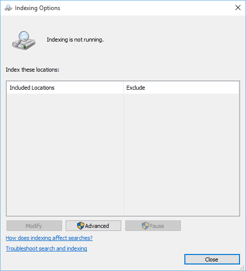 Windows Search Service isn't running after upgrading to